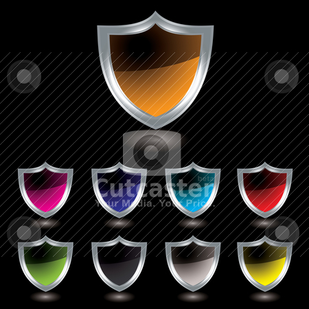 Silver shield black stock vector clipart, Silver bevel shield with colour variation and drop shadow with black background by Michael Travers