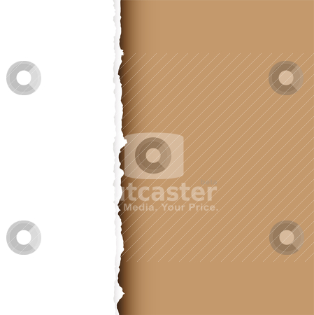 Brown tear divide stock vector clipart, Piece of white paper with torn edge and brown background with shadow by Michael Travers