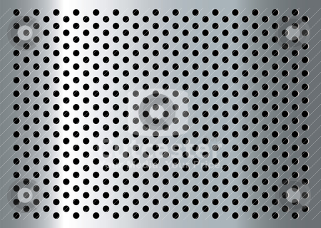 Gratted metal stock vector clipart, Silver abstract metal background with holes and light reflection by Michael Travers