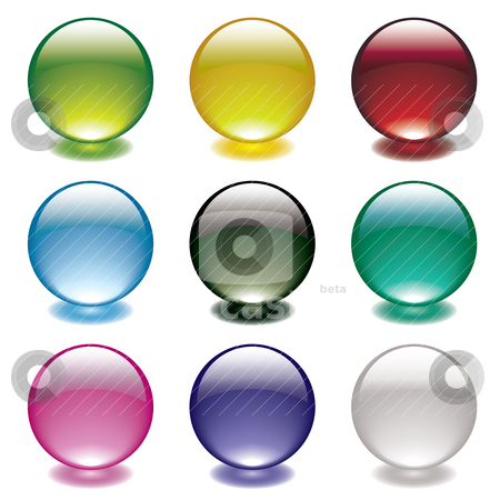 Bubble glow circle stock vector clipart, Collection of nine gel filled round bubble icons with bright colorful shadows by Michael Travers