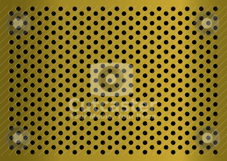 Golden gratted metal stock vector clipart, Gold metal abstract background with grated holes and light reflection by Michael Travers