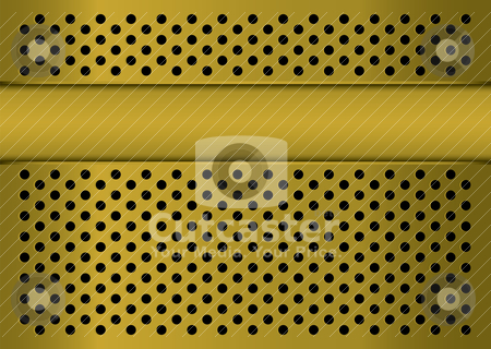 Gratted gold banner stock vector clipart, Golden abstract metal background with banner blank copyspace by Michael Travers