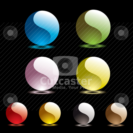 Gel round black glow stock vector clipart, Gel filled marbles with glow reflection on black background by Michael Travers