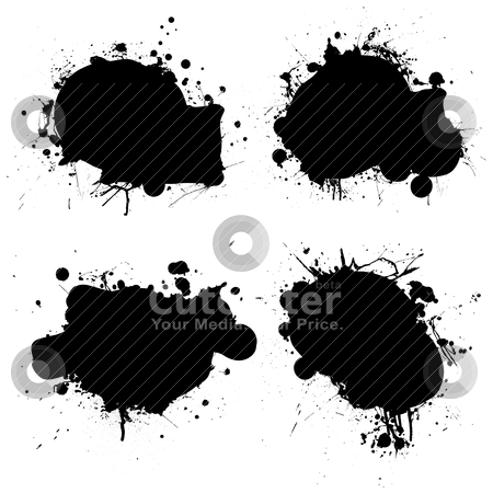 Rounded ink splat black stock vector clipart, Black and white ink splat icon with room to add your own text by Michael Travers