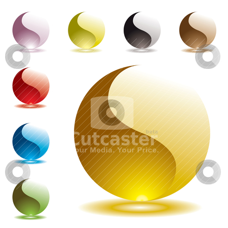 Gel round half glow stock vector clipart, Collection of gel filled marbles with glowing shadow reflection by Michael Travers