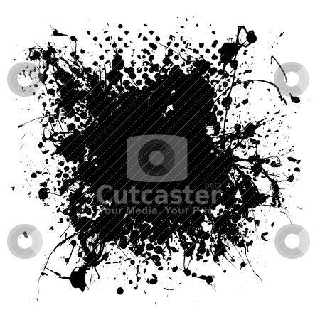 Gothic grunge ink splat halftone stock vector clipart, Dropped ink splat with halftone dots and room to add text by Michael Travers