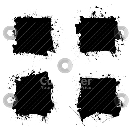Square black ink splat stock vector clipart, Collection of four ink splats with grunge effect and room for text by Michael Travers