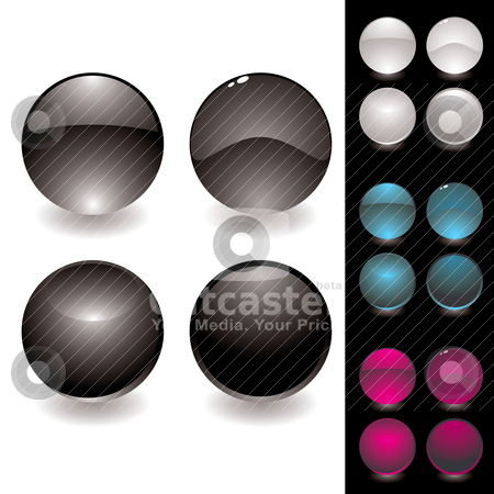 Four button variation stock vector clipart, Collection of four different round icons with colour variation by Michael Travers
