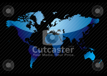 World map reflect blue black stock vector clipart, Blue world map with light reflection and black background by Michael Travers