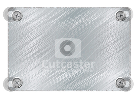 Metal plaque stock vector clipart, Silver metal plaque with brushed metal surface and screws by Michael Travers