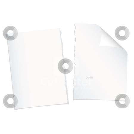 Single page torn blank stock vector clipart, Single piece of white paper torn in half with shadow by Michael Travers