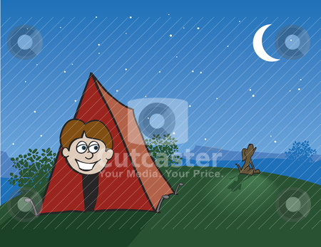 Tent Camping stock vector clipart, Illustration of a boy peeking out of his tent while a coyote howls at the moon. by John Morris