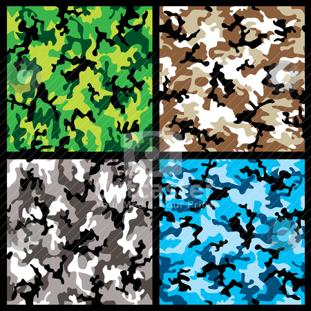 Camouflage set stock vector clipart, Collection of four different abstract colored camouflage backgrounds by Michael Travers