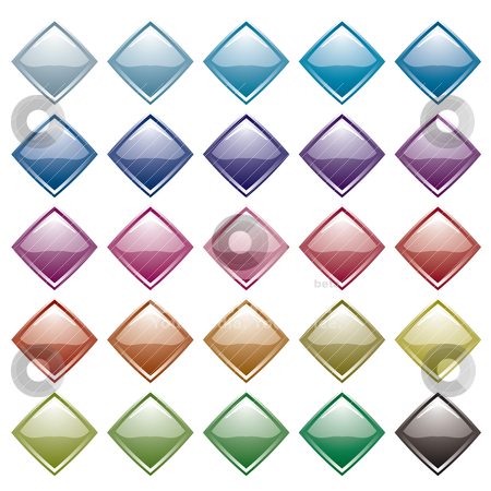 Rainbow diamond variation stock vector clipart, Collection of many diamond shaped icons with light reflection by Michael Travers
