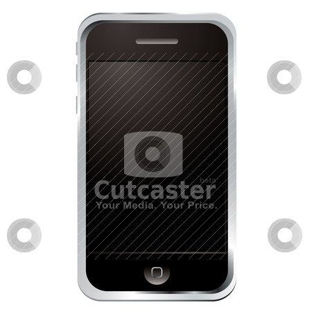 Techno phone stock vector clipart, Illustrated technology phone with black screen and button by Michael Travers