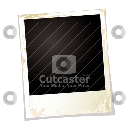 Photo grunge three stock vector clipart, Blank grunge photo with copy space and drop shadow by Michael Travers