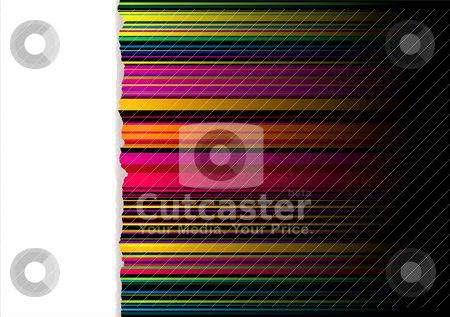 Rainbow tear light divide stock vector clipart, Rainbow striped ribbon background with white panel and torn edge by Michael Travers