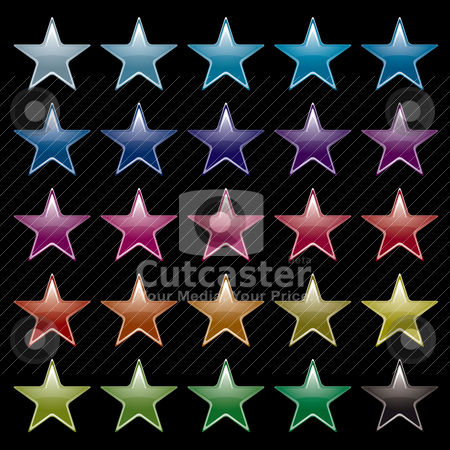 Star rainbow black stock vector clipart, Collection of brightly colored star icons with black background by Michael Travers