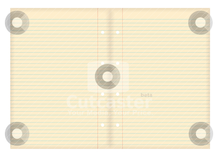 Grunge paper pair stock vector clipart, Illustrated old grunge paper with blue line rules and hole punch by Michael Travers