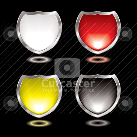 Gel shield black stock vector clipart, Collection of four gel field shields with silver bevel by Michael Travers