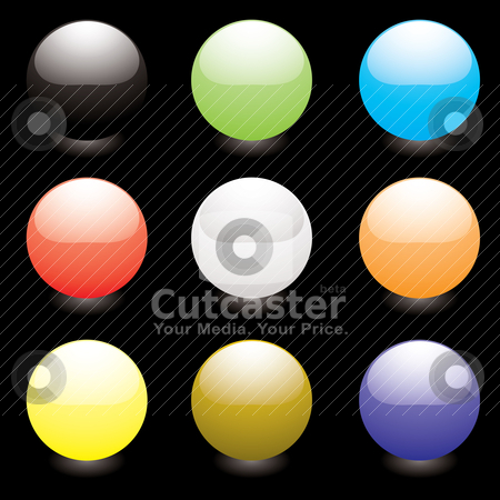 Marble shine black stock vector clipart, Collection of nine colorful marbles with light reflection by Michael Travers