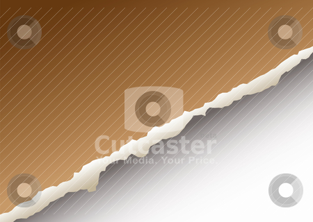 Large paper rip stock vector clipart, Brown paper background with torn edge and drop shadow by Michael Travers