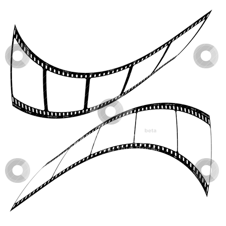 Photo film strip mirror stock vector clipart, Two pieces of photo film twisted and distorted with blank spaces by Michael Travers
