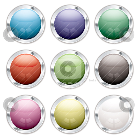 Button candid silver stock vector clipart, Collection of nine round icons with silver bevel and shadow by Michael Travers