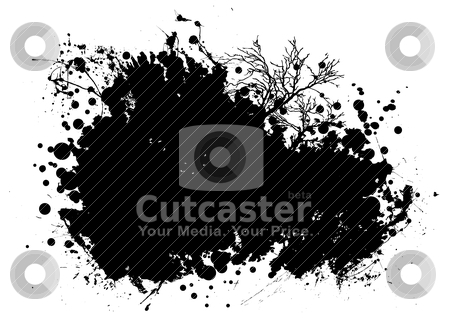Nature grunge stock vector clipart, Nature inspired grunge blob with ink splat design and copy space by Michael Travers