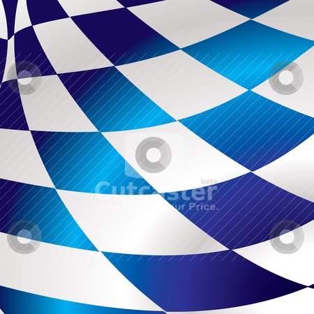Blue checkered square stock vector clipart, Blue and white abstract checkered flag background with wave effect by Michael Travers