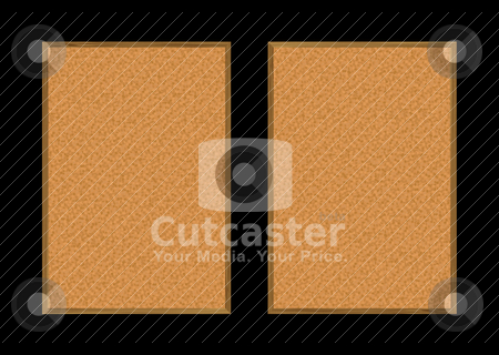 Pin board pair stock vector clipart, Two cork pin boards with wood frame and copy space by Michael Travers