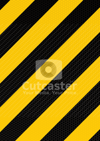 Traditional warning stripe stock vector clipart, Yellow and black diagonal stripe warning background with hexagon pattern by Michael Travers