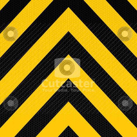 Arrow warning stripe stock vector clipart, Yellow and black arrow background with hexagon pattern by Michael Travers