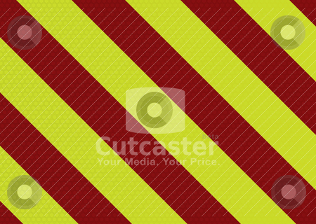 Modern warning stripe stock vector clipart, Diagonal striped warning background with hexagon pattern in red and yellow by Michael Travers