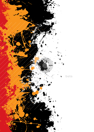Ink splat border stock vector clipart, Grunge ink splat background with orange and red paint by Michael Travers