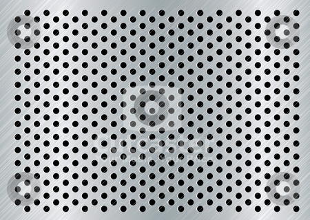 Brushed dot background stock vector clipart, Round holed background with brushed silver surface and bevel by Michael Travers