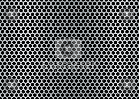 Brushed hexagon background stock vector clipart, Metal brushed background with punched holes and silver color by Michael Travers
