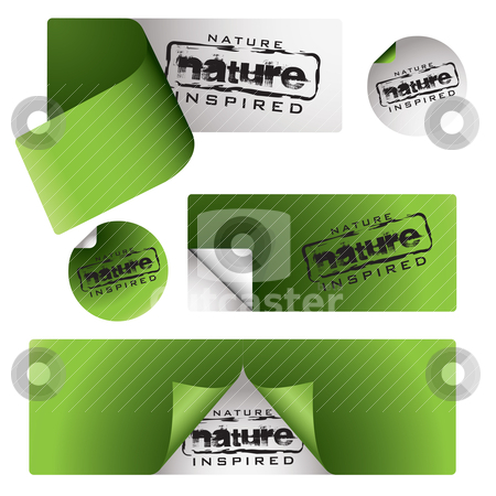 Nature labels stock vector clipart, Collection of green nature labels with page peel and shadow by Michael Travers