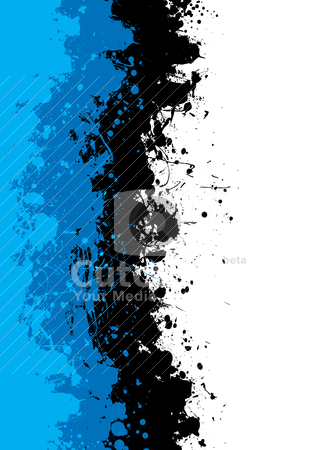 Grunge blue splat stock vector clipart, Abstract shades of blue grunge background with ink spalt by Michael Travers