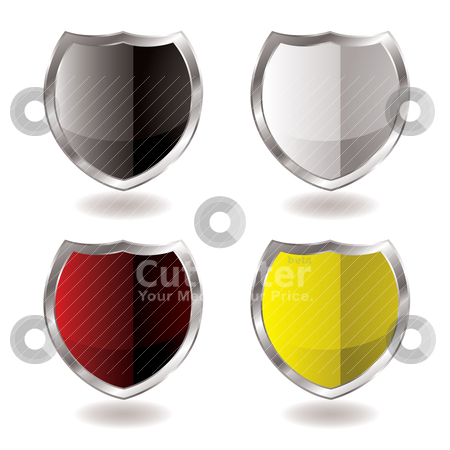 Shield reflection stock vector clipart, Collection of four shields with silver bevel and light reflection by Michael Travers