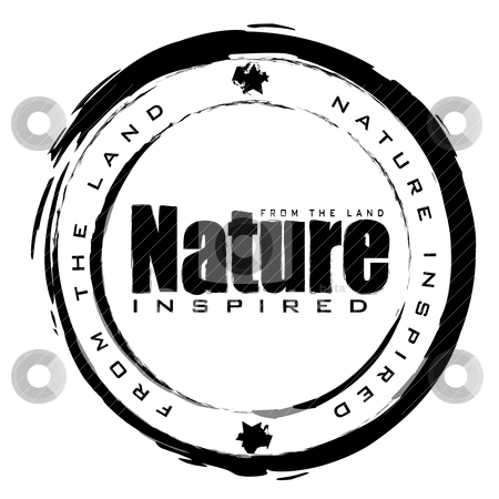Nature stamp stock vector clipart, Black and white abstract nature icon with ink effect by Michael Travers