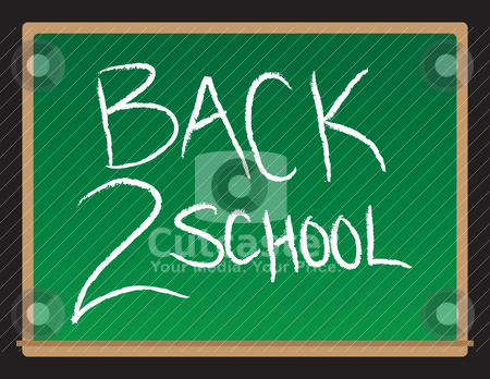 Back To School Chalkboard stock vector clipart, A vector drawing of a chalkboard with the words Back to School written. by Todd Arena