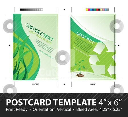 Going Green Postcard Template stock vector clipart, A going green postcard or direct mailer design template with sample text. Easily customize this vector image to suit the needs of your business. Print ready 4 x 6 with bleeds and crop marks. by Todd Arena