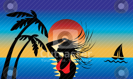 Island Girl stock vector clipart, A silhouette of an Island girl swinging wet hair with a beautiful sunset background. by Basheera Hassanali