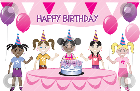 Kids Party stock vector clipart, A birthday party with cake. Five young happy kids celebrating. Can be used as an invitation. Available in all girls, all boys and mixed group of kids. I do custom work! by Basheera Hassanali