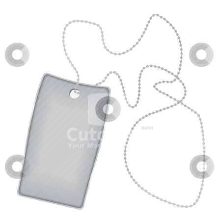 Dog tag stock vector clipart, Illustrated metal silver tag with chain and shadow by Michael Travers