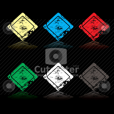 Grunge icon stock vector clipart, Collection of six rounded grunge square icons with reflection by Michael Travers