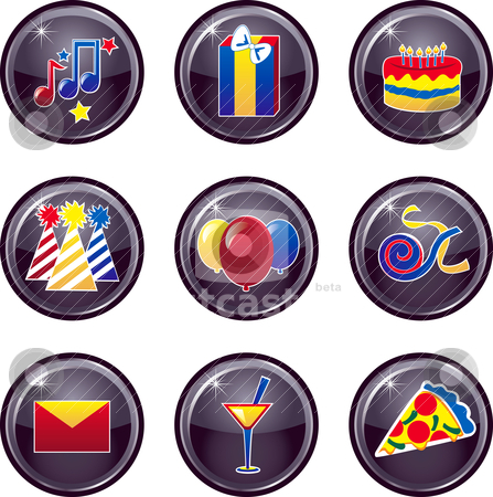 Party Icon Buttons stock vector clipart, Vector that can be used as web icons, buttons or anything else. by Basheera Hassanali