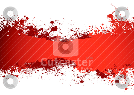Blood banner stock vector clipart, Blood red grunge ink banner with room to add your own copy by Michael Travers