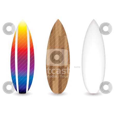 Retro surfboards stock vector clipart, Collection of three retro surfboards with wooden and rainbow effects by Michael Travers